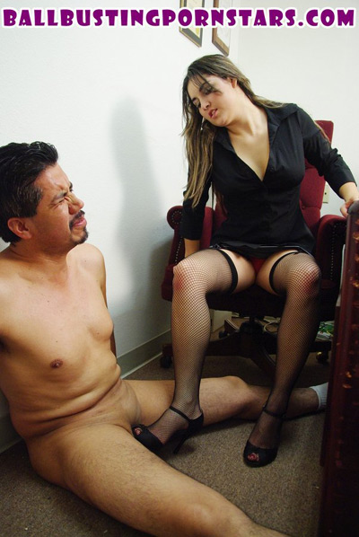Cock crushed under the heels of his young Mistress
