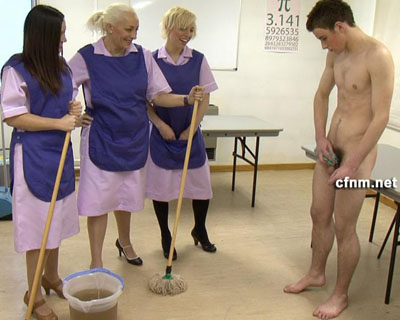 Cfnm humiliation by the cleaning ladies