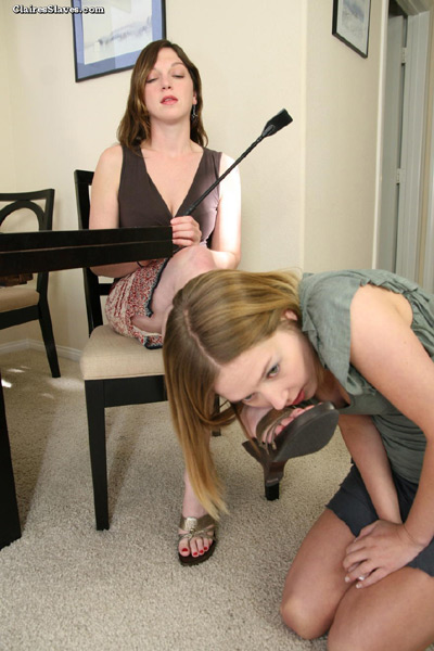 On her knees and worshipping on her feet