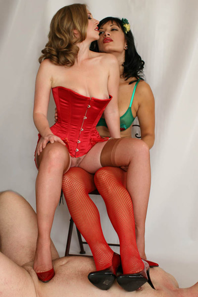 Mistress T and Jasime makes love on their human carpet
