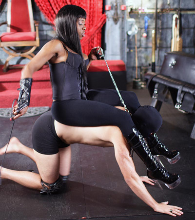 Black Mistress having fun on her new pony slave