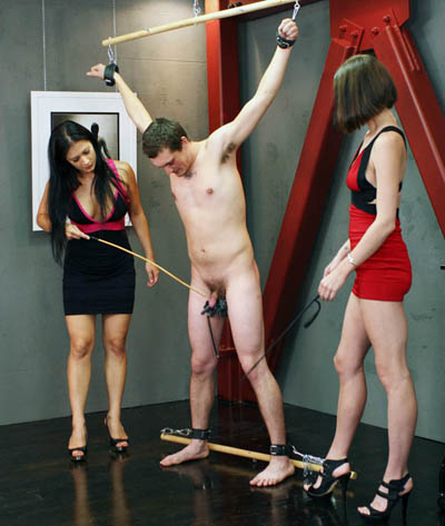 Shivering under the cane of Mistress Jasime and whip of Mistress Bijou