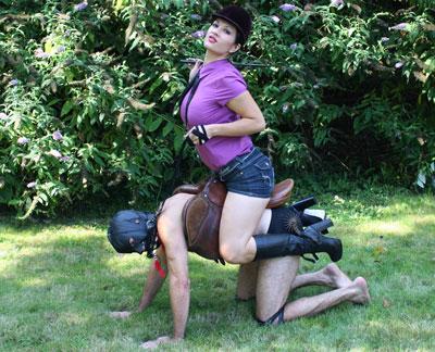 Pony for Mistress Jasmine outdoors