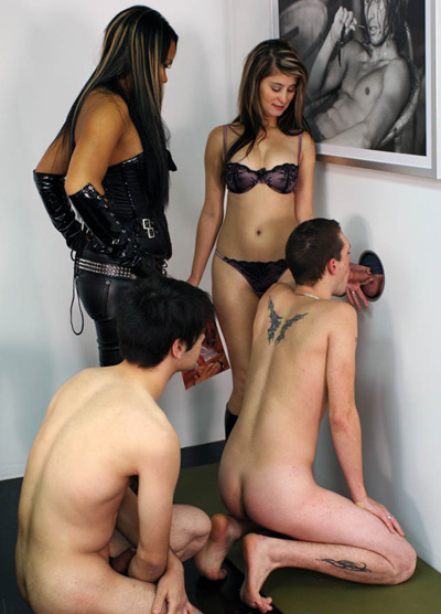 Forcing the cuckolded slaves to suck cock