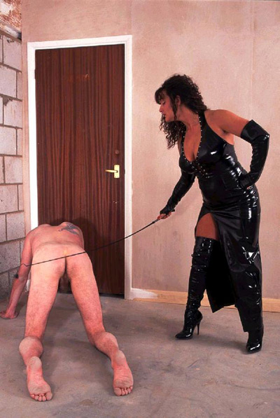 Whipped by Mistress as he crawls out