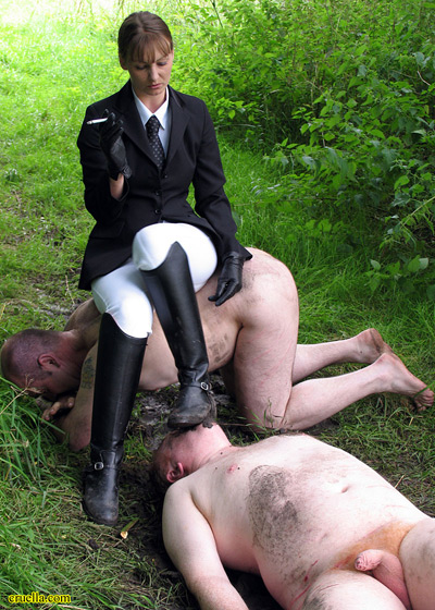Riding Mistress with her lowly dirty slaves