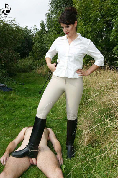 Riding boots cock stomping outdoors