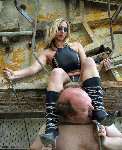 Rich blonde Mistress gets her steels cleaned up