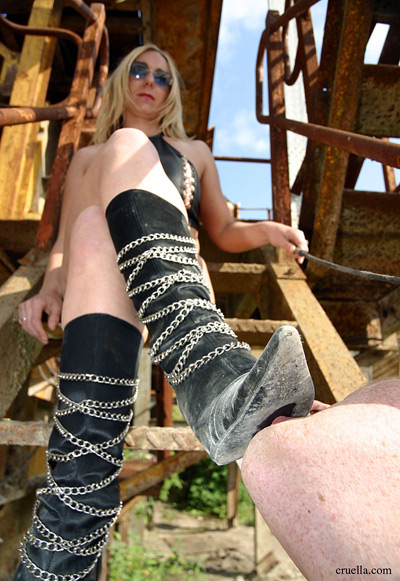 Dusty boots to be licked clean by slave