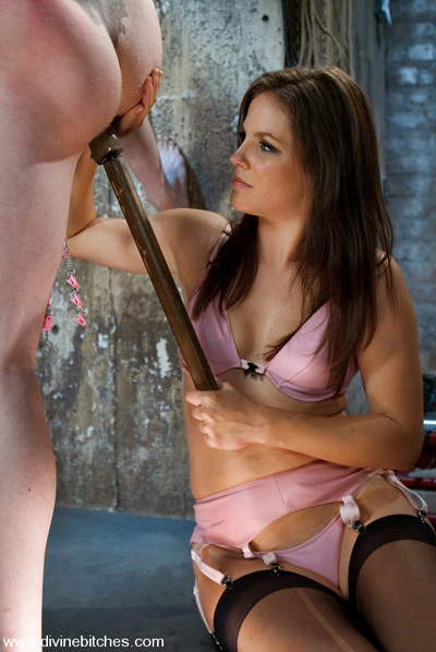 Testing the depth of her slave's hole