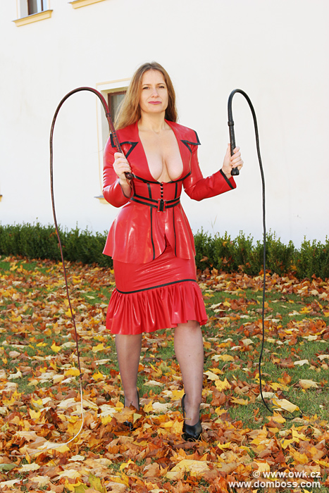 Domina Irene Boss is preparing 2 thick bull whips for her unlucky slave