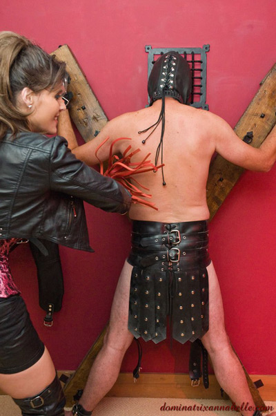 Testing out her new toy on her slave