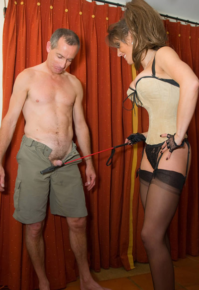 Training the erection of her slave's cock