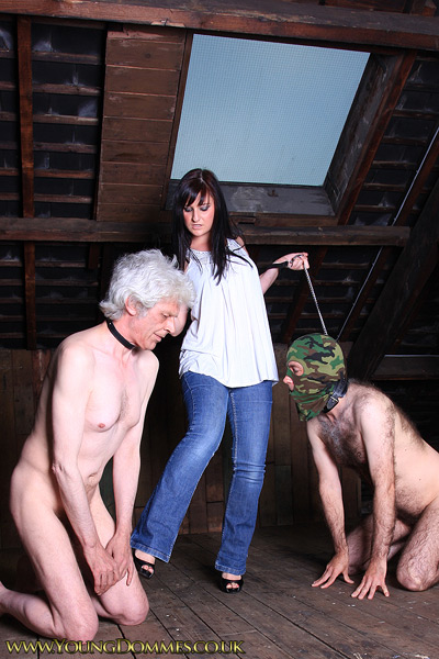 2 leashed up slaves for the young Mistress