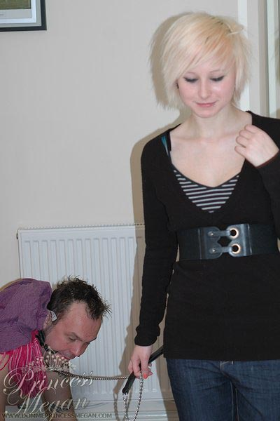 A crawling doggy slave that serve as a trolley as well for Mistress Becky