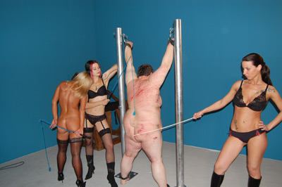 Endless whipping and caning on the fat piece of meat