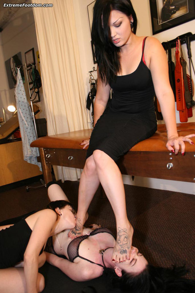 Two slave girls to worship Cece La Rue's bare feet