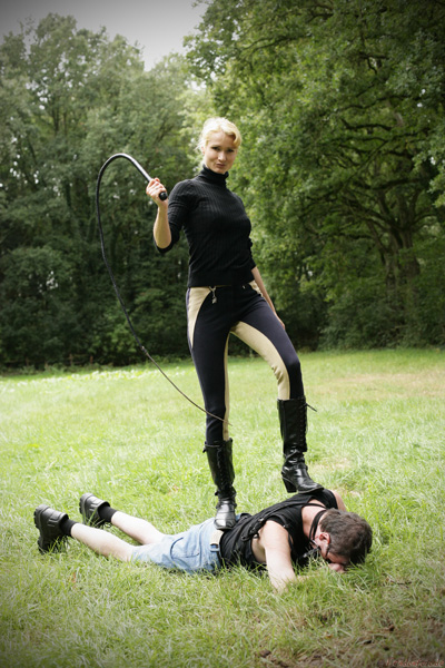 Trampled and whipped by German Mistress