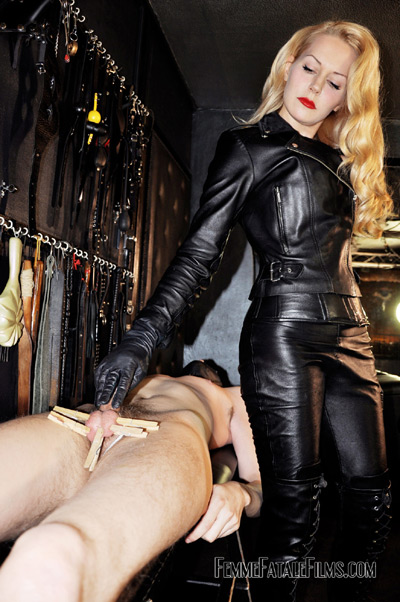 CBT by hot leather Mistress Eleise