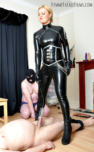 Milking the hell outta her slave