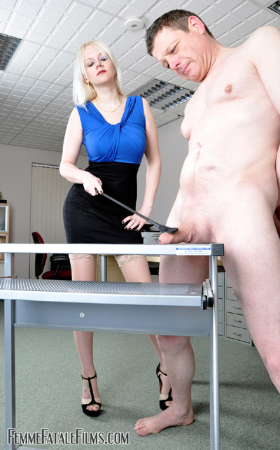Cock spanking in the office