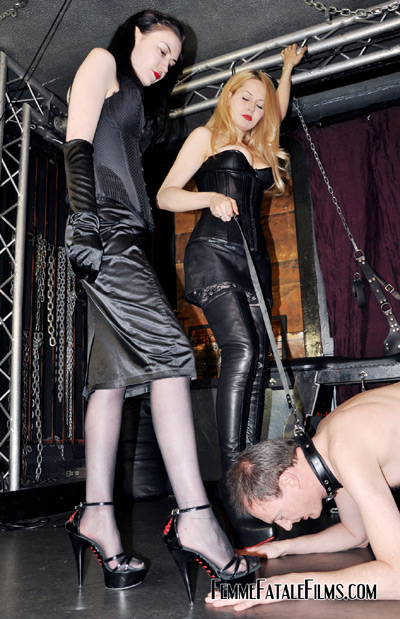 Leashed slave submits to his new Mistress