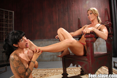 Slave girl tasting on her Mistress's sweaty feet