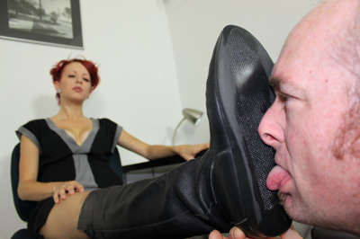 Bottom of her boots to be tongue polished