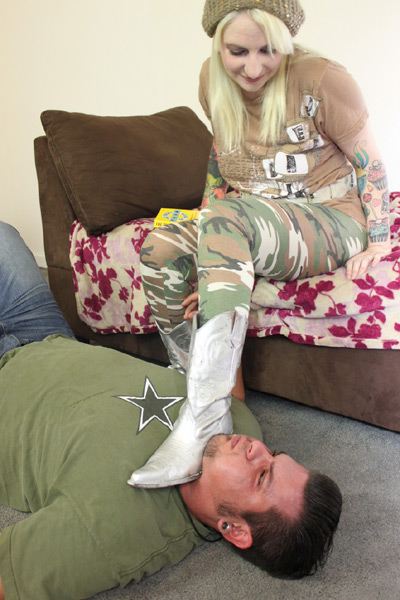 The agony of Mistress Olivia's boot rest