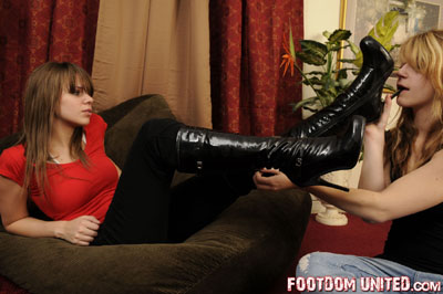 Tessa needs her boots clean by her slave girl