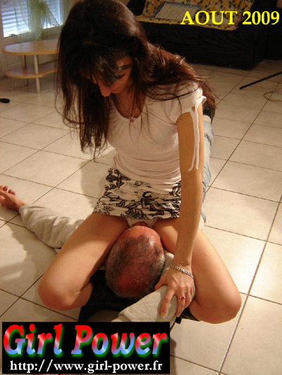 French Mistress smothers sweaty panties on her slave