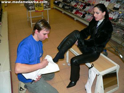 Serving Madame Sarka at the shoe shop