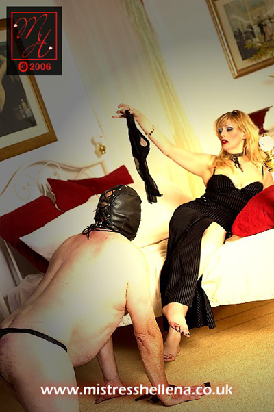Mistress Hellena makes her doggy slave beg for her worn stockings