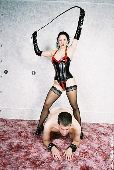 Wrapping up her slave in plastic and ropesd