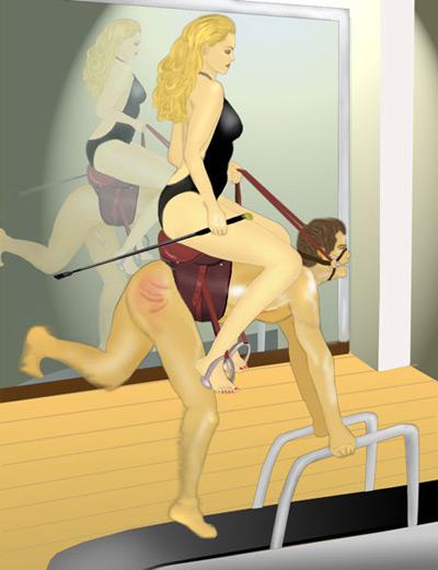 Blonde Mistress trains her pony on a tread mill
