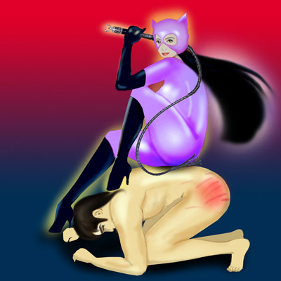 Cat woman sits on top of her whipped slave