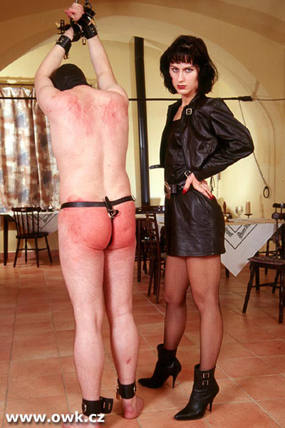 Madame Sarka warms up the ass of her slave creature