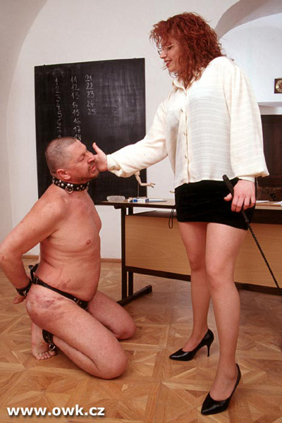 Strict teacher slaps her student slave