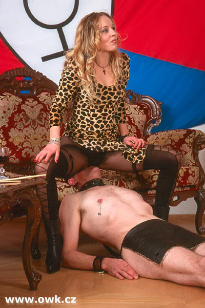Leather butt of Madame Christine tastes good for her slave