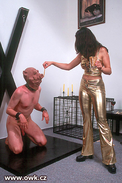 Madame Loreen feeding the slave animals at the OWK