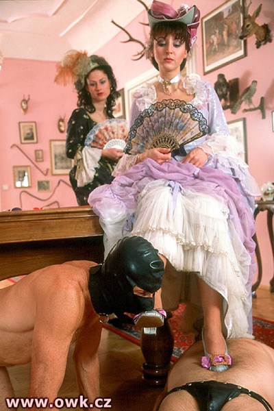 18th century Victorian Mistress gets her shoes kissed by her servant