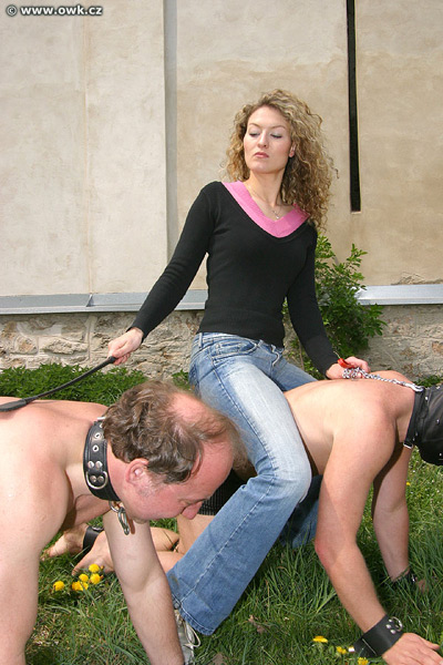 Lady Petra training 2 pony slaves
