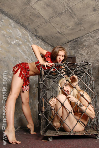 Stuffing the slave girl into the cage