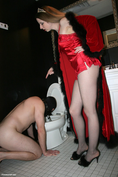 Supervising her toilet slave