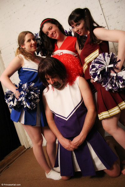 Cheerleaders making a fun out of their sissy slut
