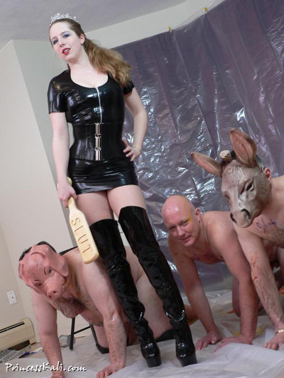 The pampered Princess Kali showing off her stable of slaves