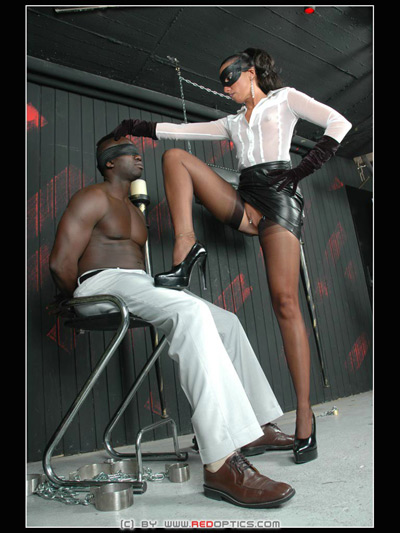 Dominating her blind folded captive