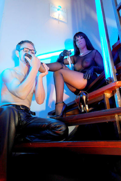 Smelling and worshiping the stockings of Mistress Stella