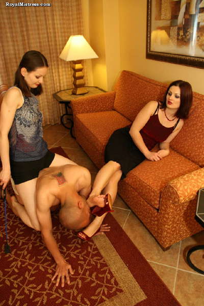 Energetic Ladies torment their foot slave with smelly feet