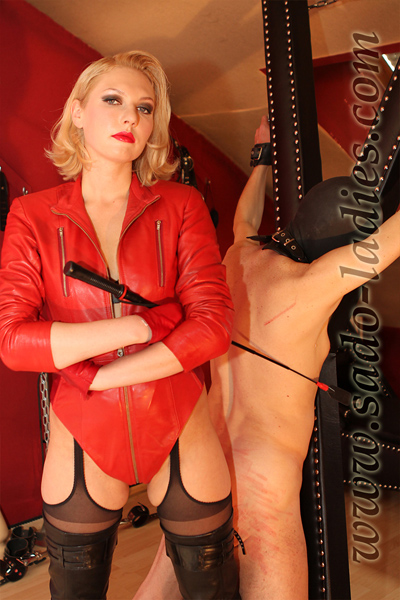 Angry caning on her slave
